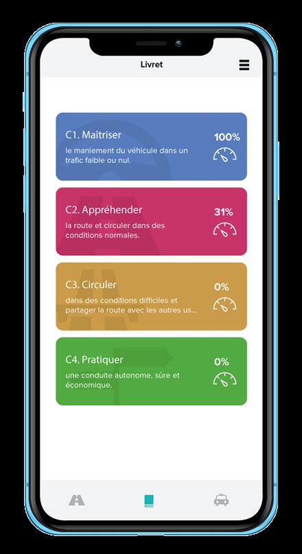 Ecran de smartphone des compétences sur l'application Mounki sur mobile pour les élèves en école de conduite
