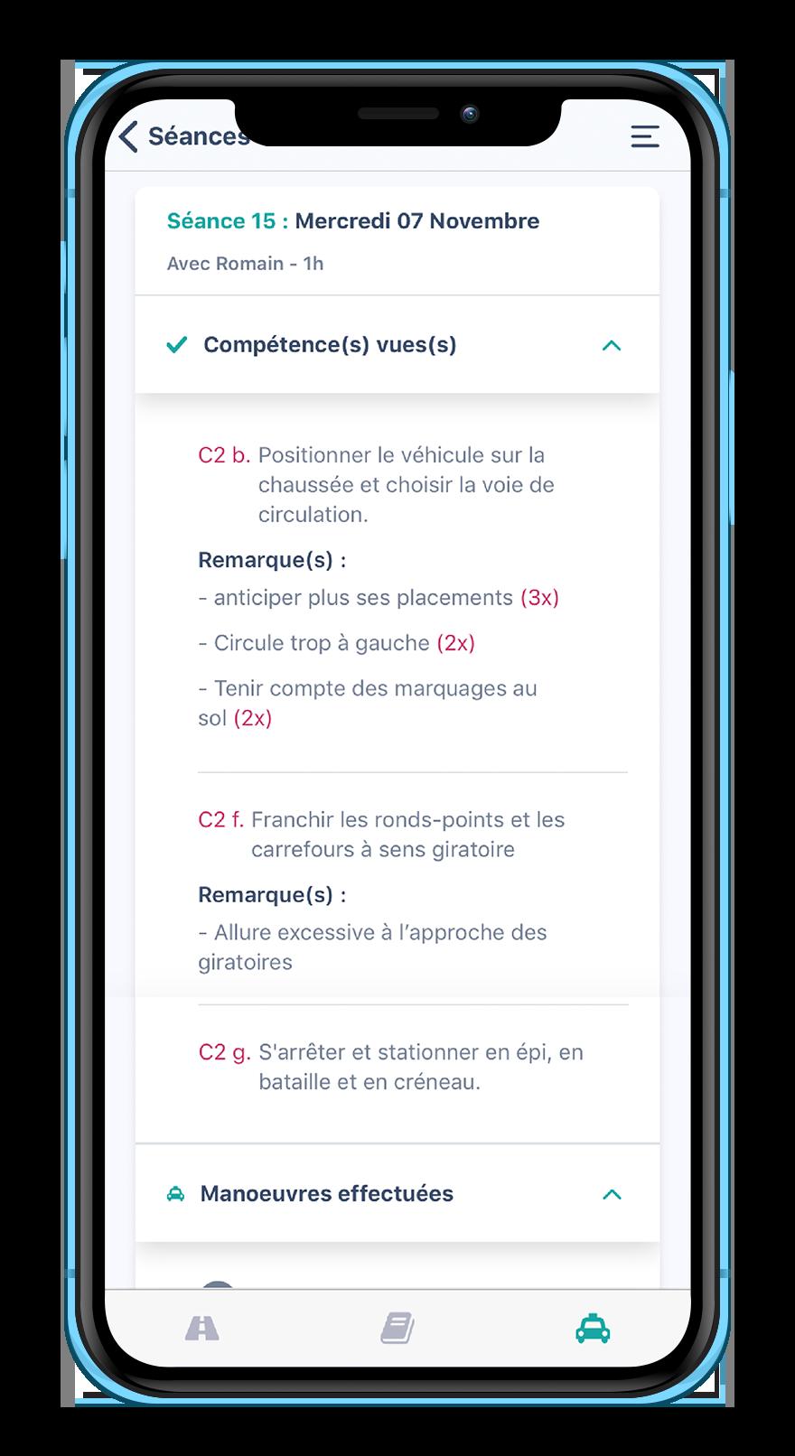 Ecran de smartphone avec le détail d'une leçon sur l'application Mounki sur mobile