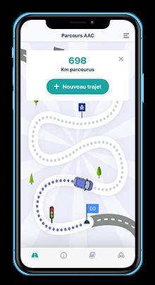 Ecran de smartphone de la progression en conduite accompagnée sur l'application Mounki sur mobile