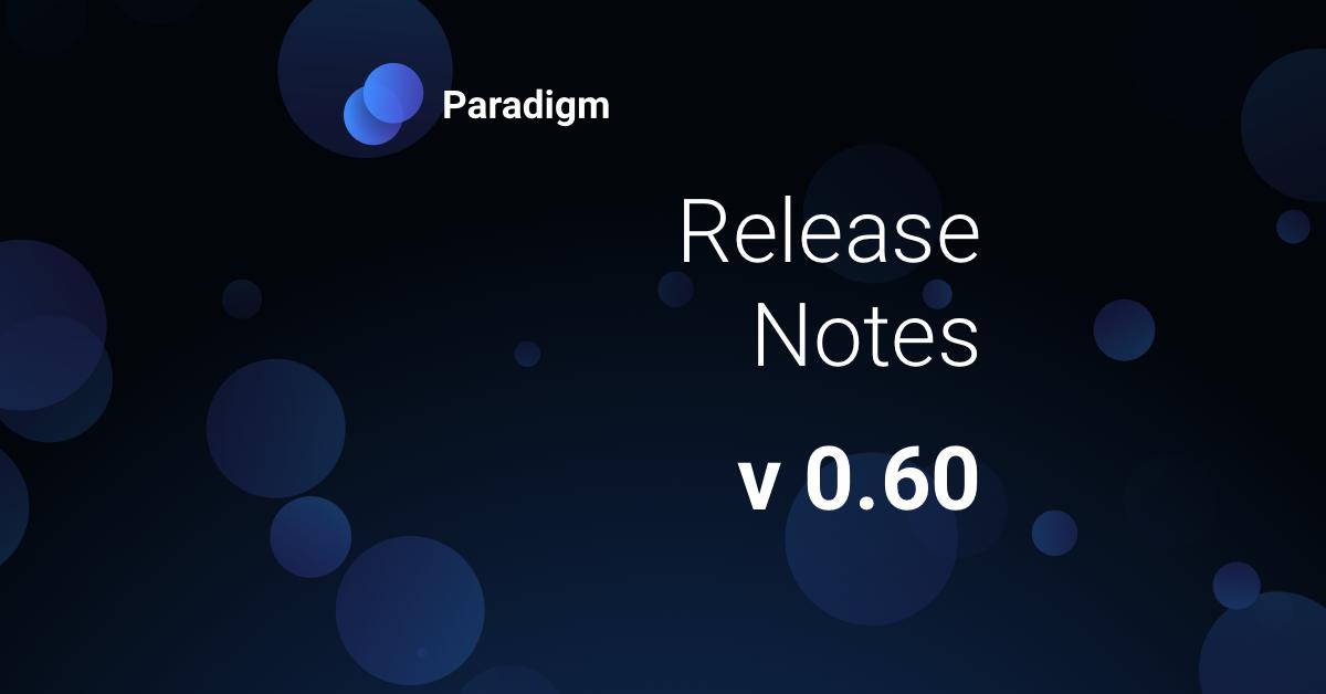 Release Notes (v 0.60)