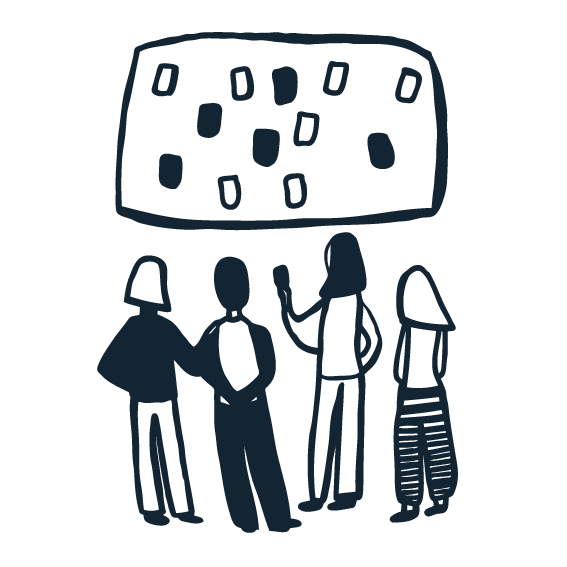 Illustration of four people taking part in a workshop, gathering around a board with several sticky notes stuck to it.
