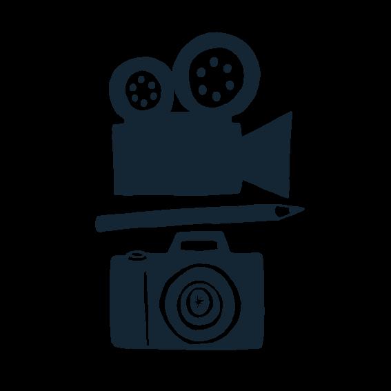 Illustration of movie camera, pen and SLR camera.