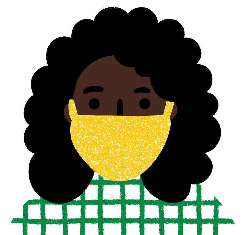 Illustration of a woman with a dark skin tone and black curly hair wearing a yellow mask and green and white checked shirt.