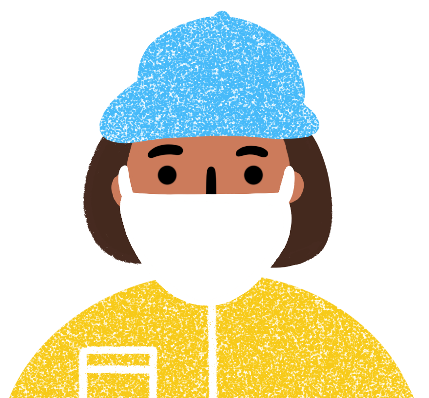 Illustration of a person with a medium skin tone and short brown hair wearing a white mask, yellow shirt and blue hat.