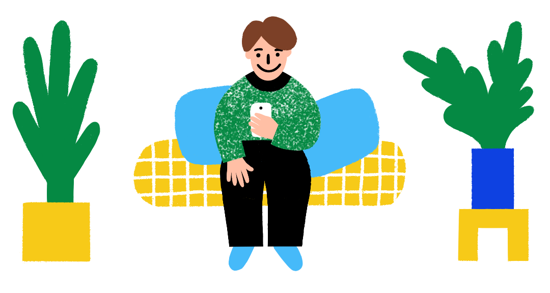 Illustration of a a man with pale skin sitting on a couch smiling and looking at his smartphone. The couch has yellow checks and light blue cushions and is framed by two potted plants on both sides.