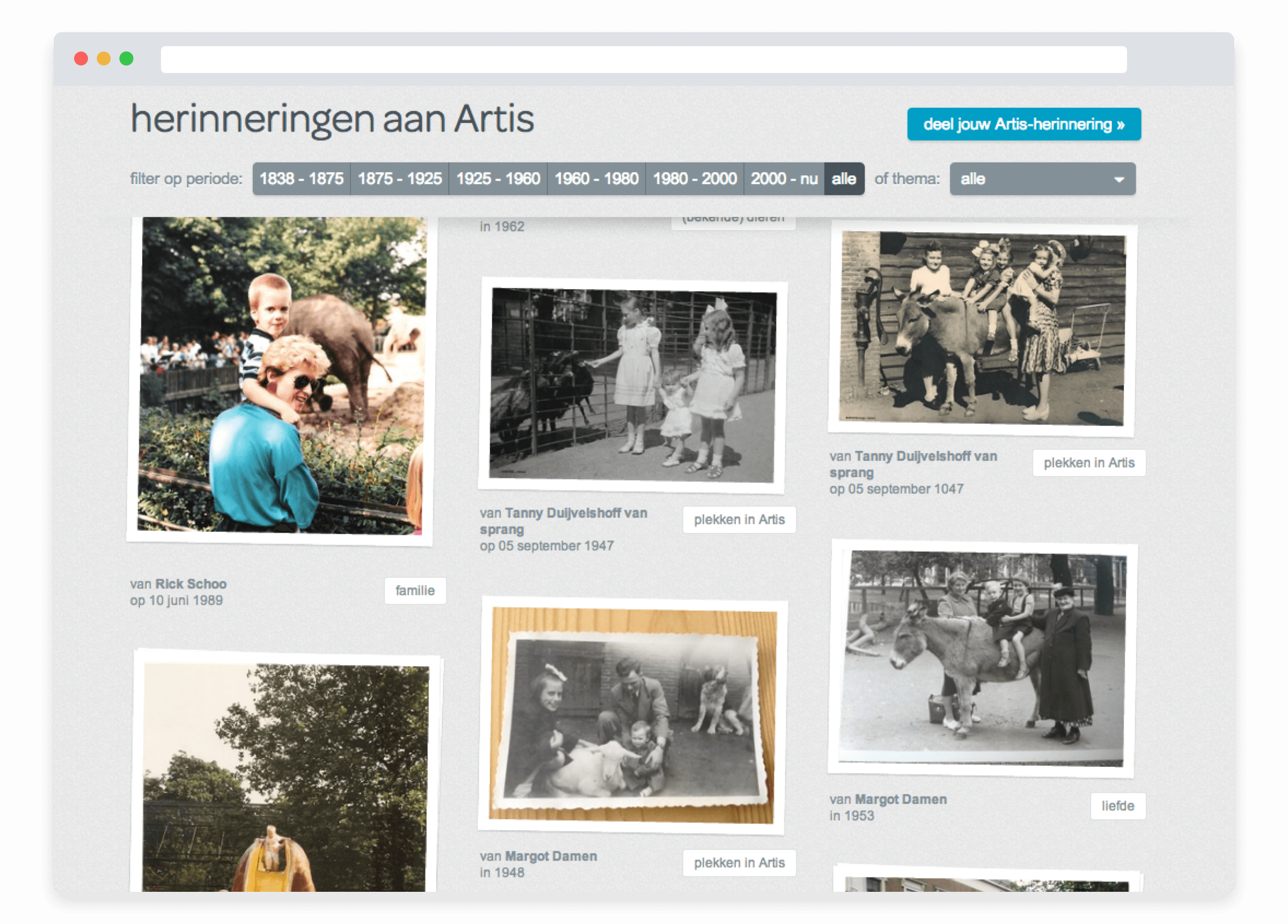Artis 175 Years campaign, landing page with filters