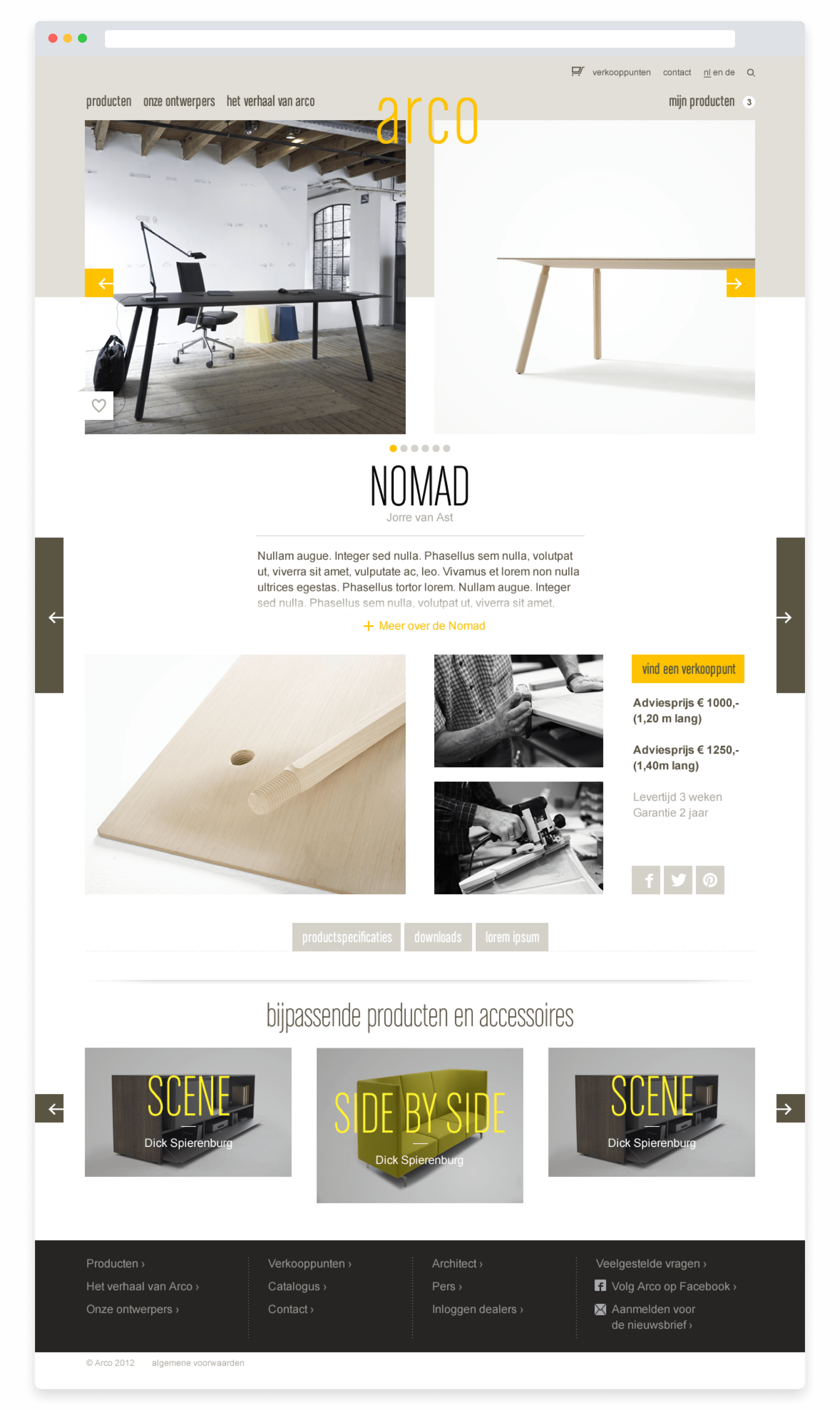 Arco website, product detail page