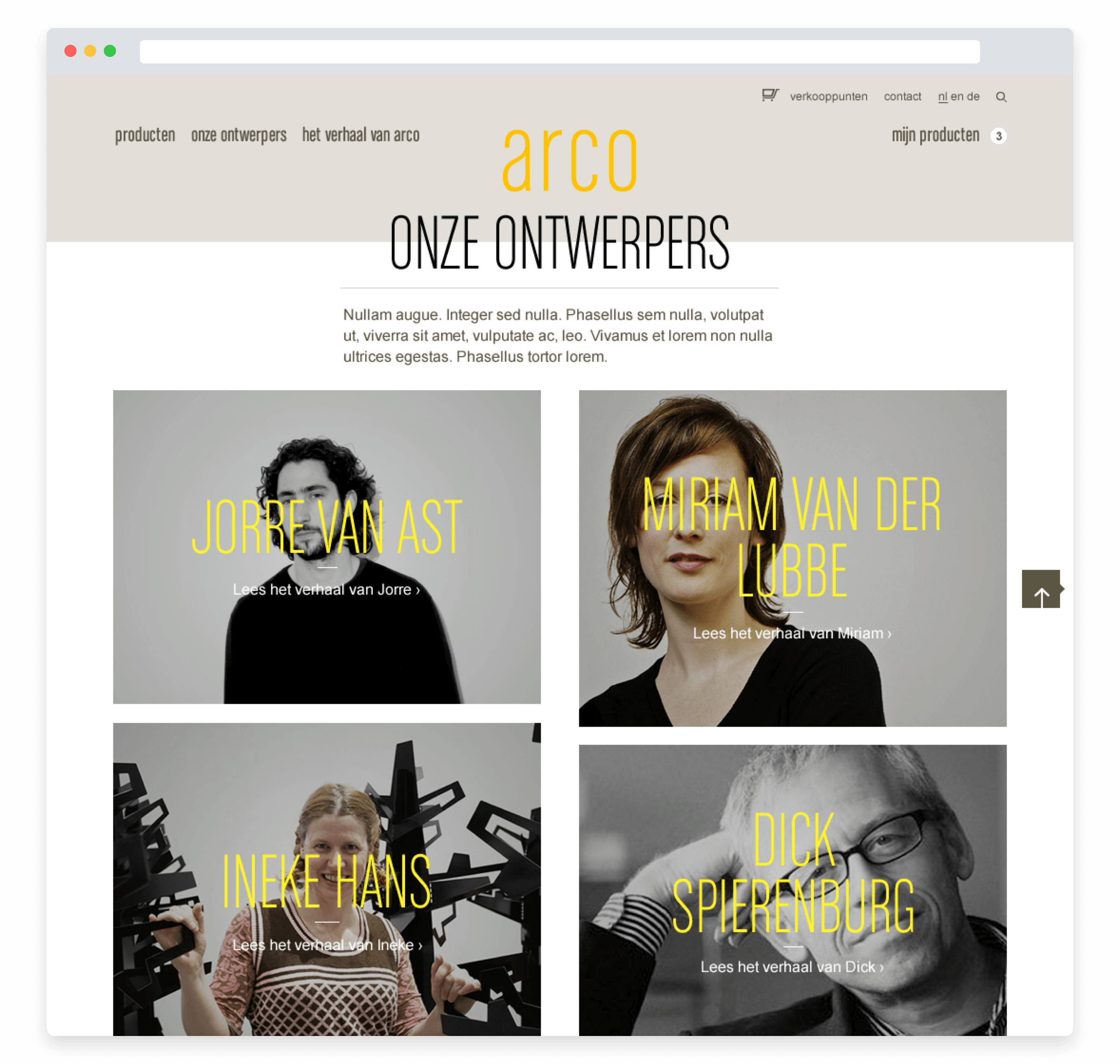 Arco website, designer overview