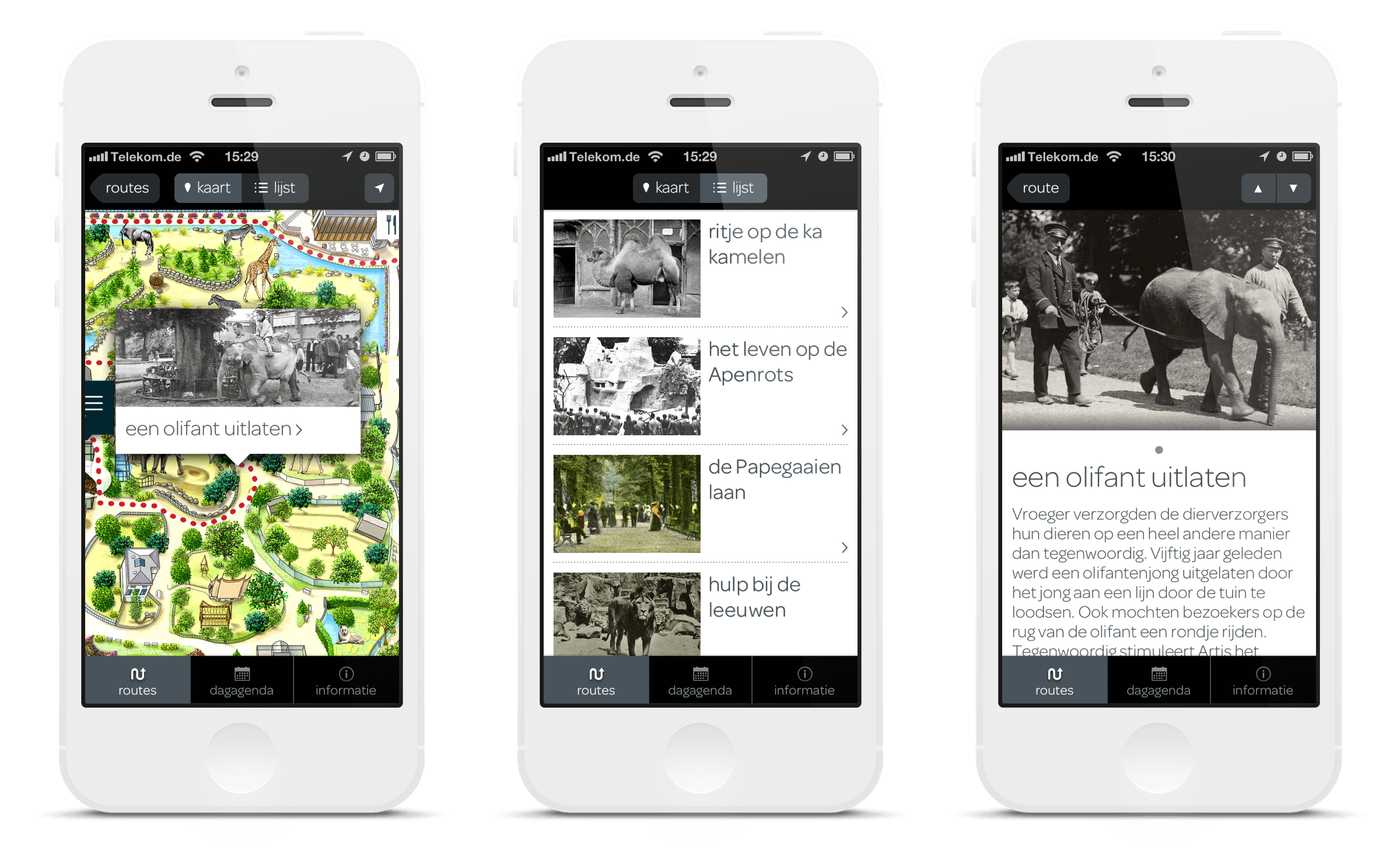 Artis 175 Years campaign, app screens showing the 175 Years tour