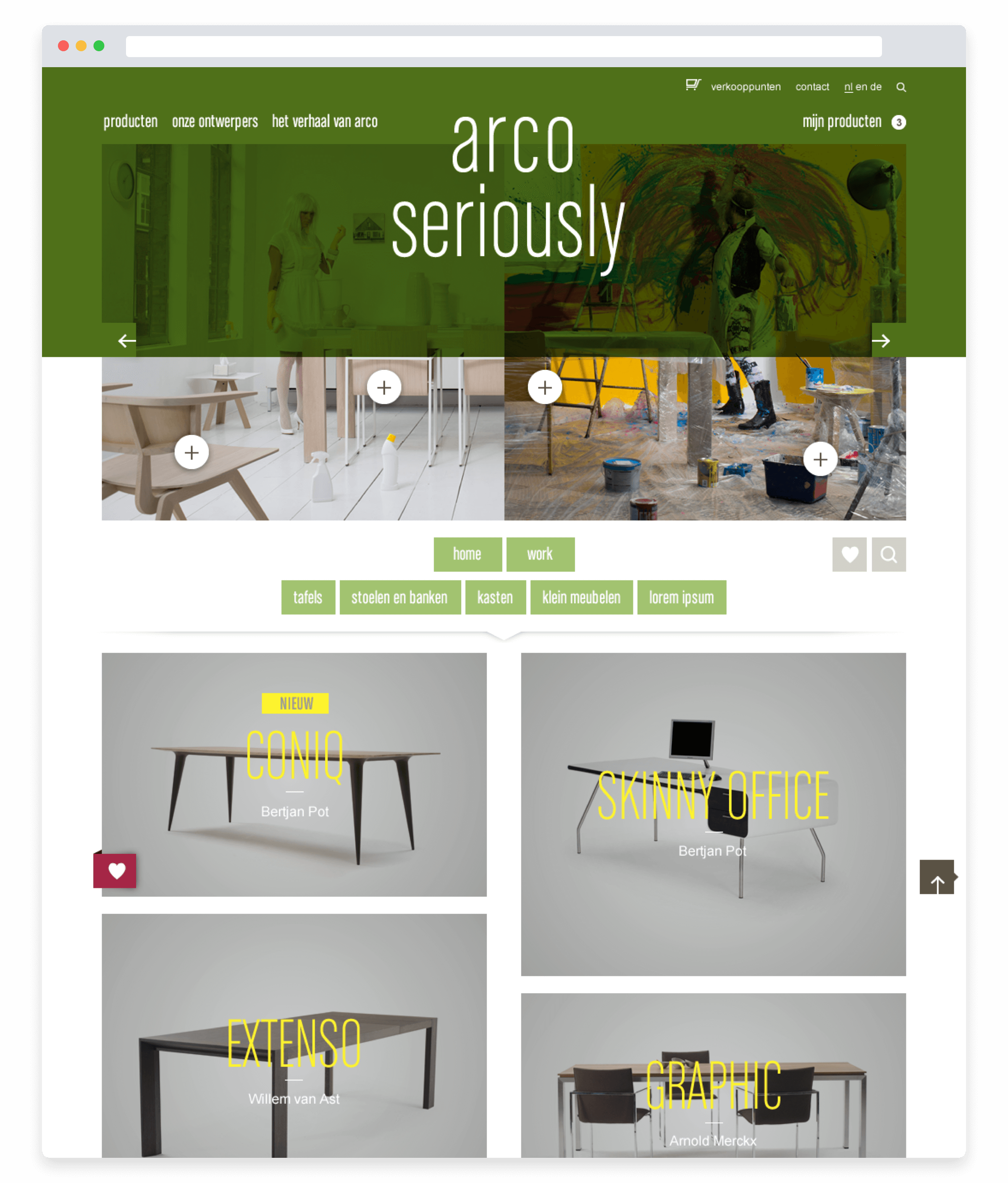 Arco website, homepage