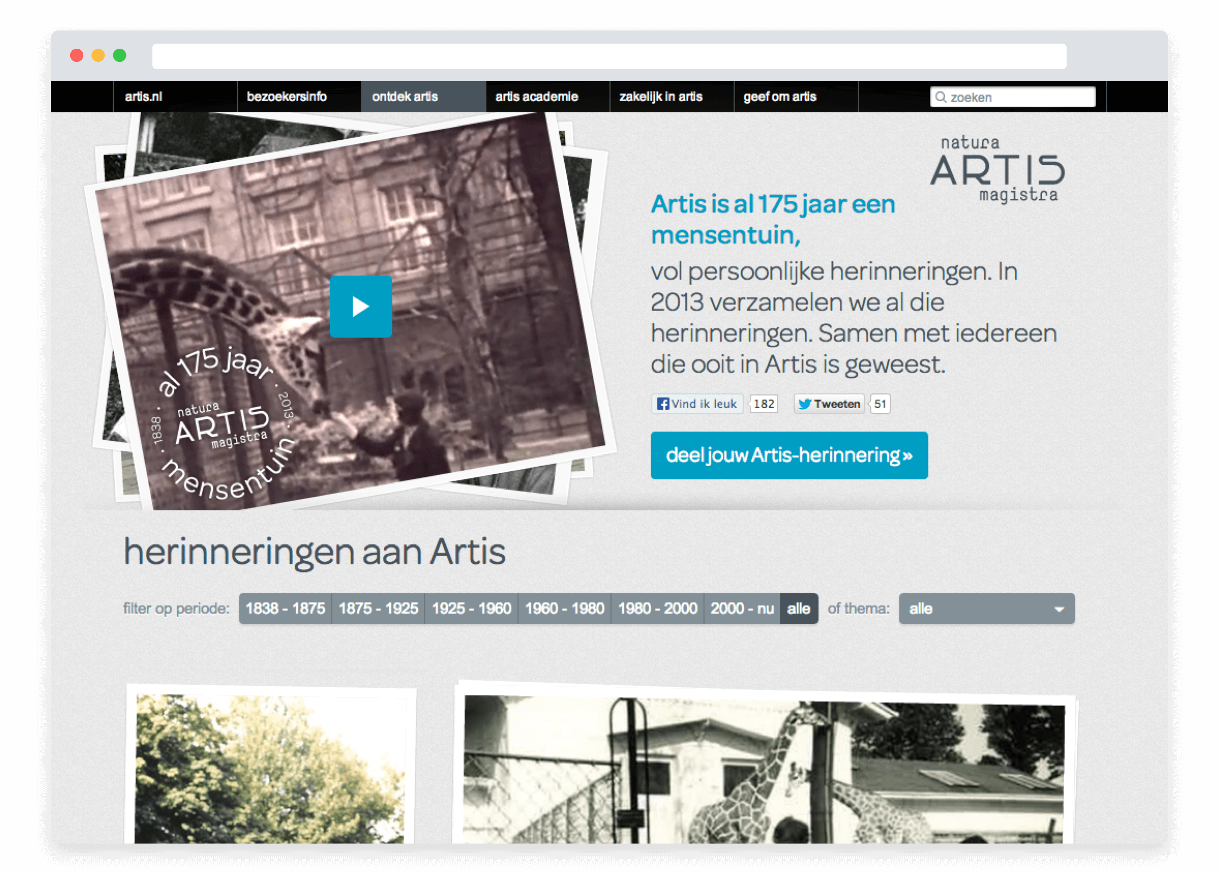 Artis 175 Years campaign, landing page