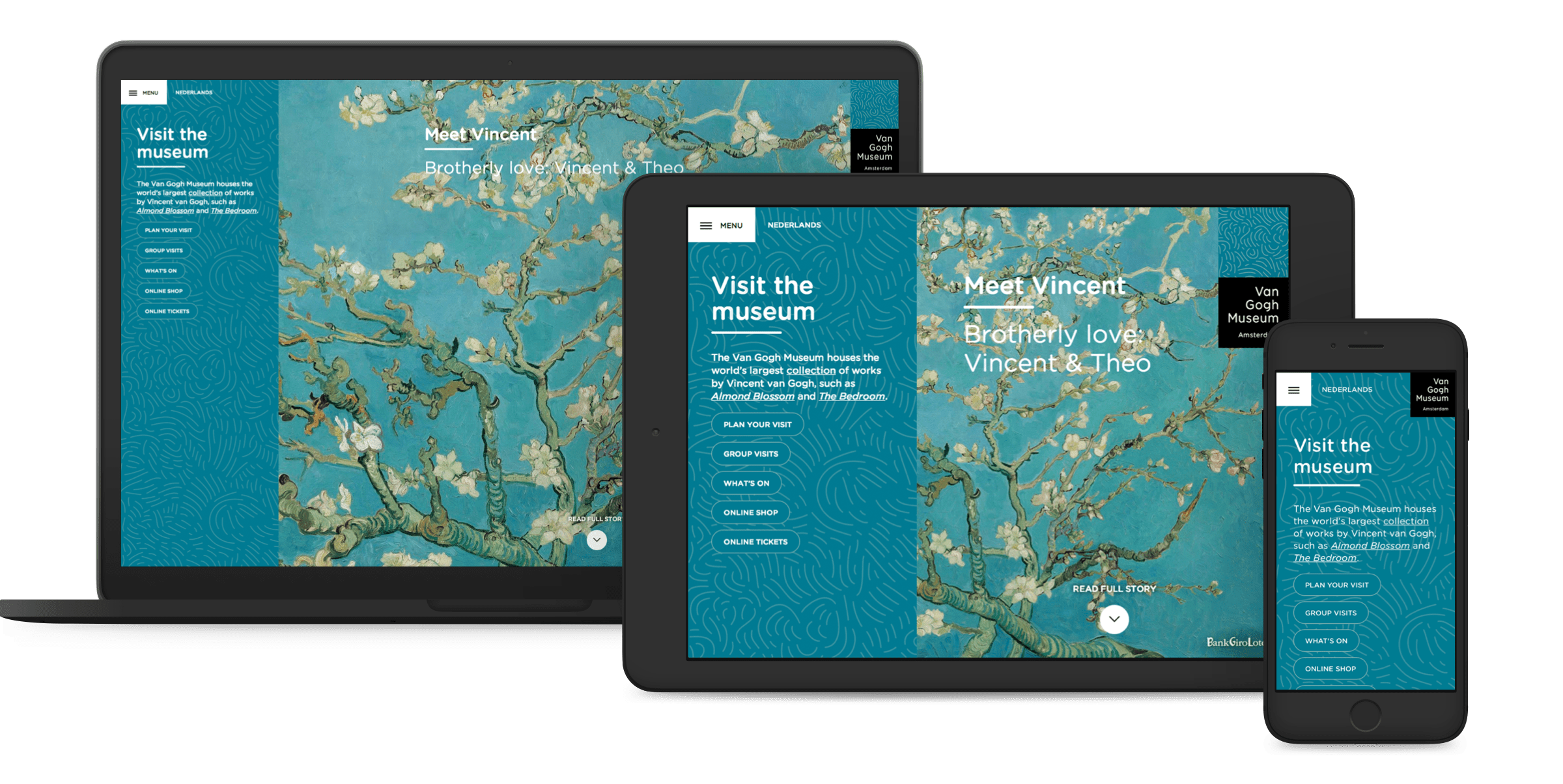 Van Gogh Museum website, homepage on desktop, tablet and mobile