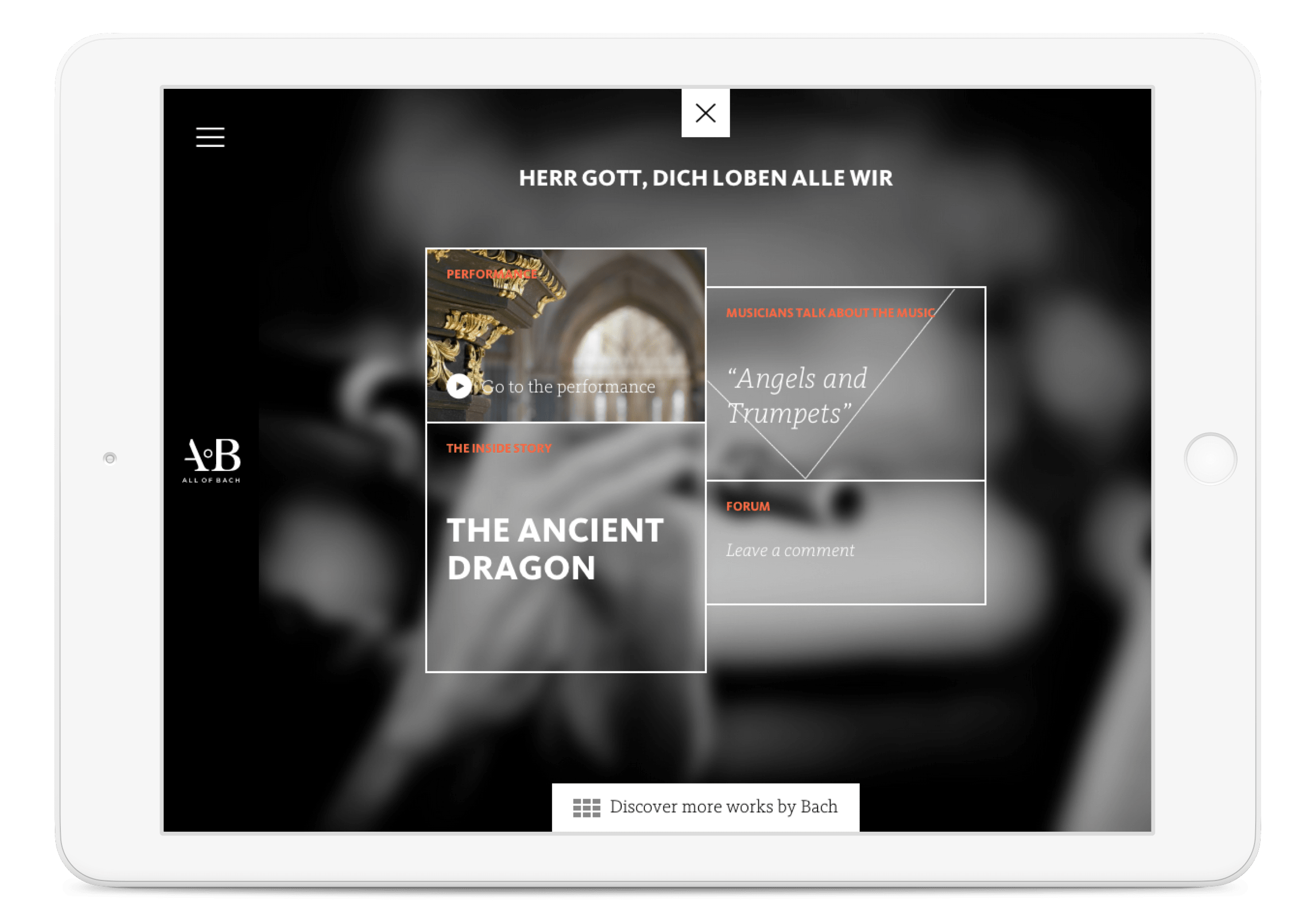 All of Bach website, edition menu