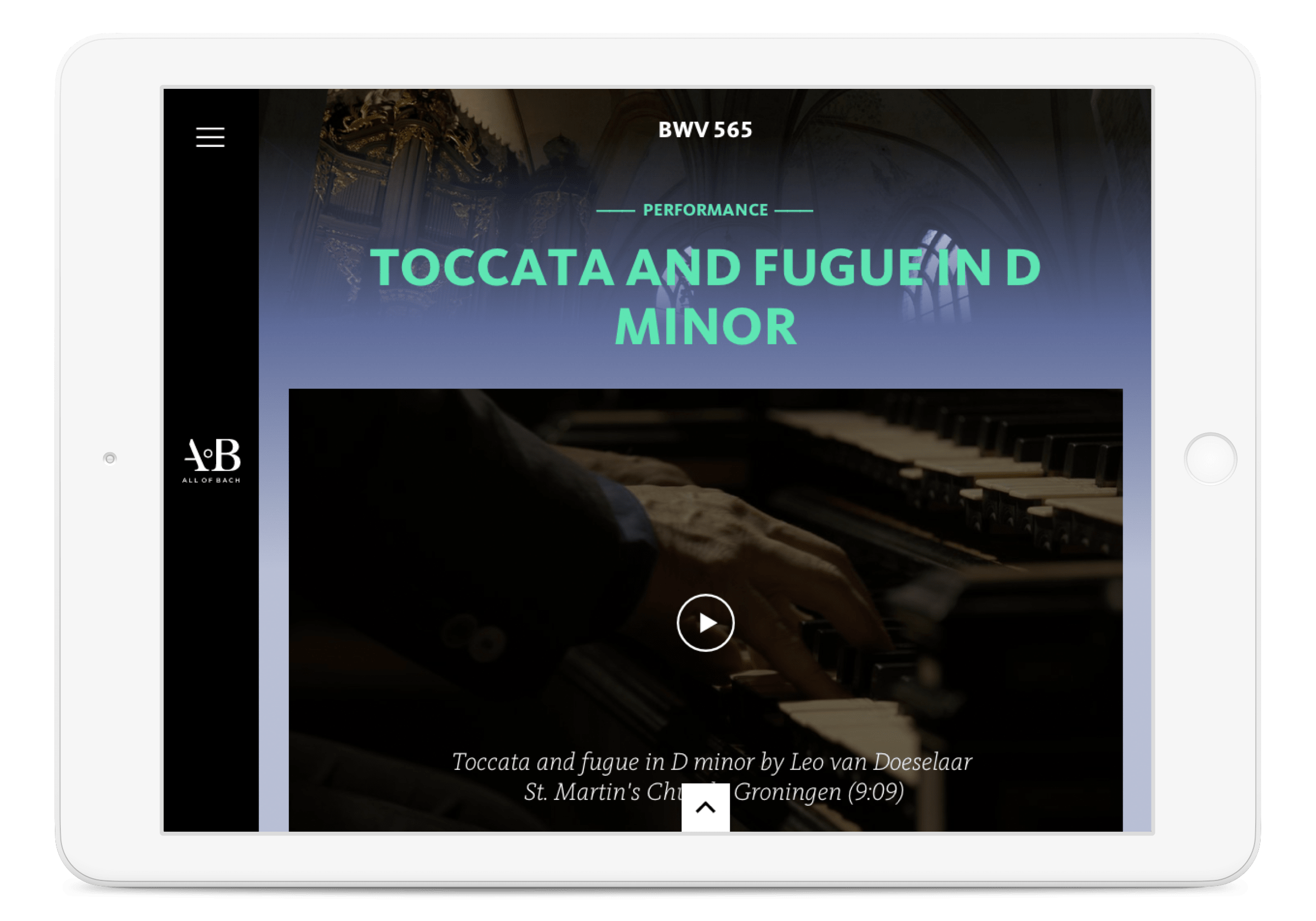 All of Bach website, performance view