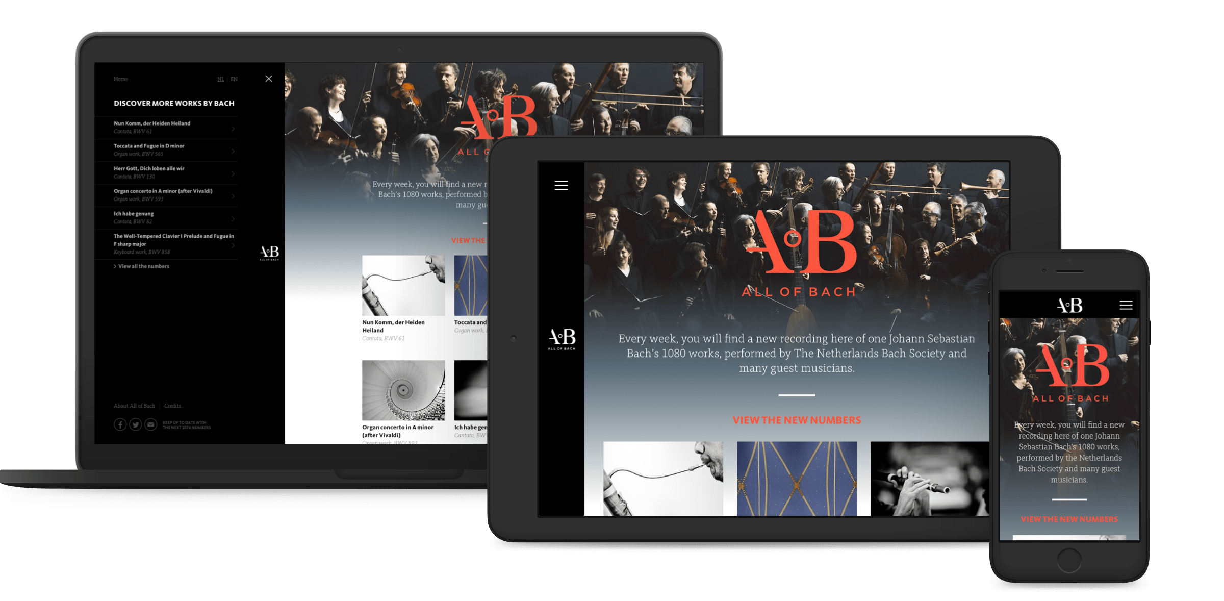 All of Bach website, homepage shown on desktop, tablet and mobile