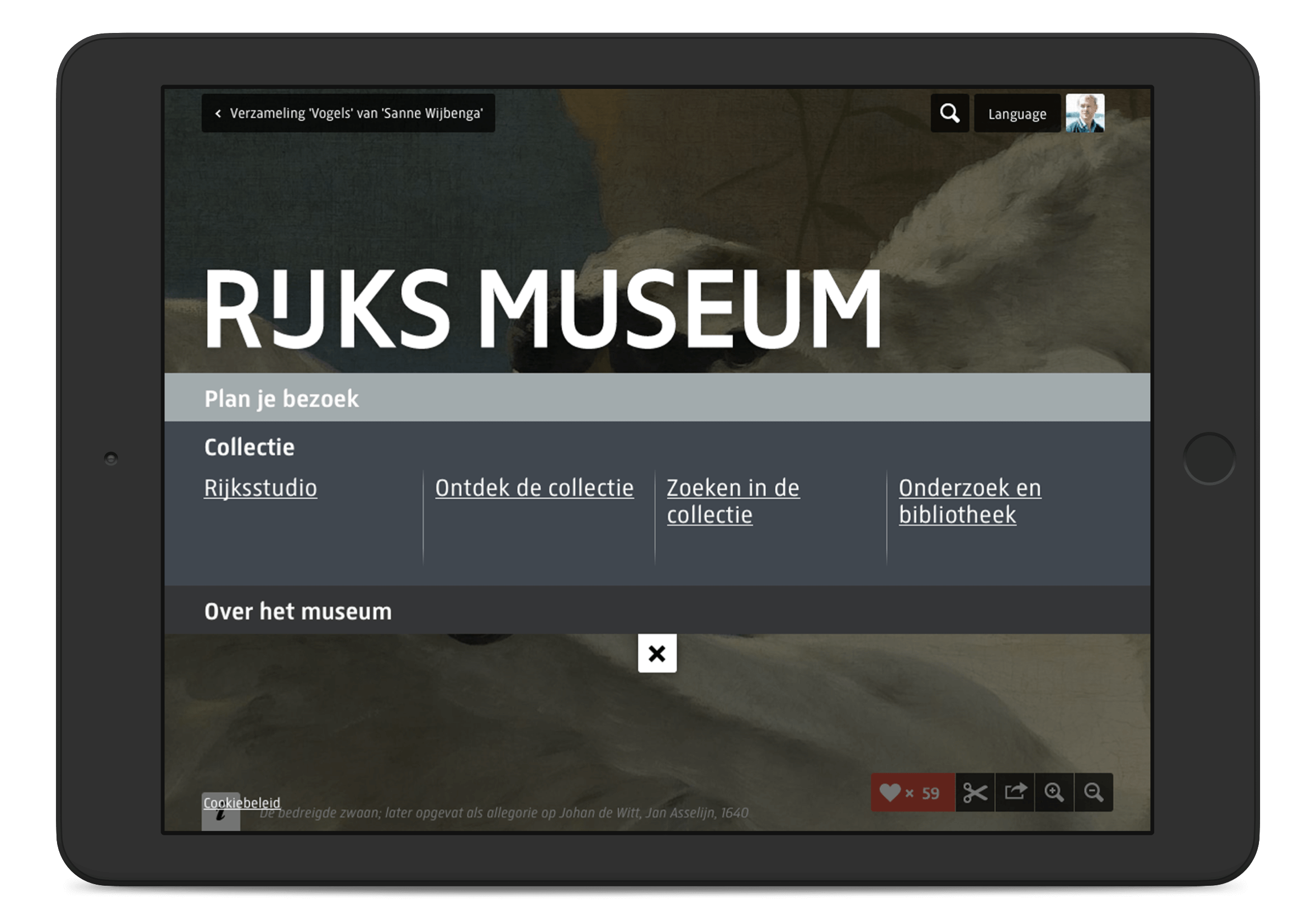 Rijksmuseum website menu