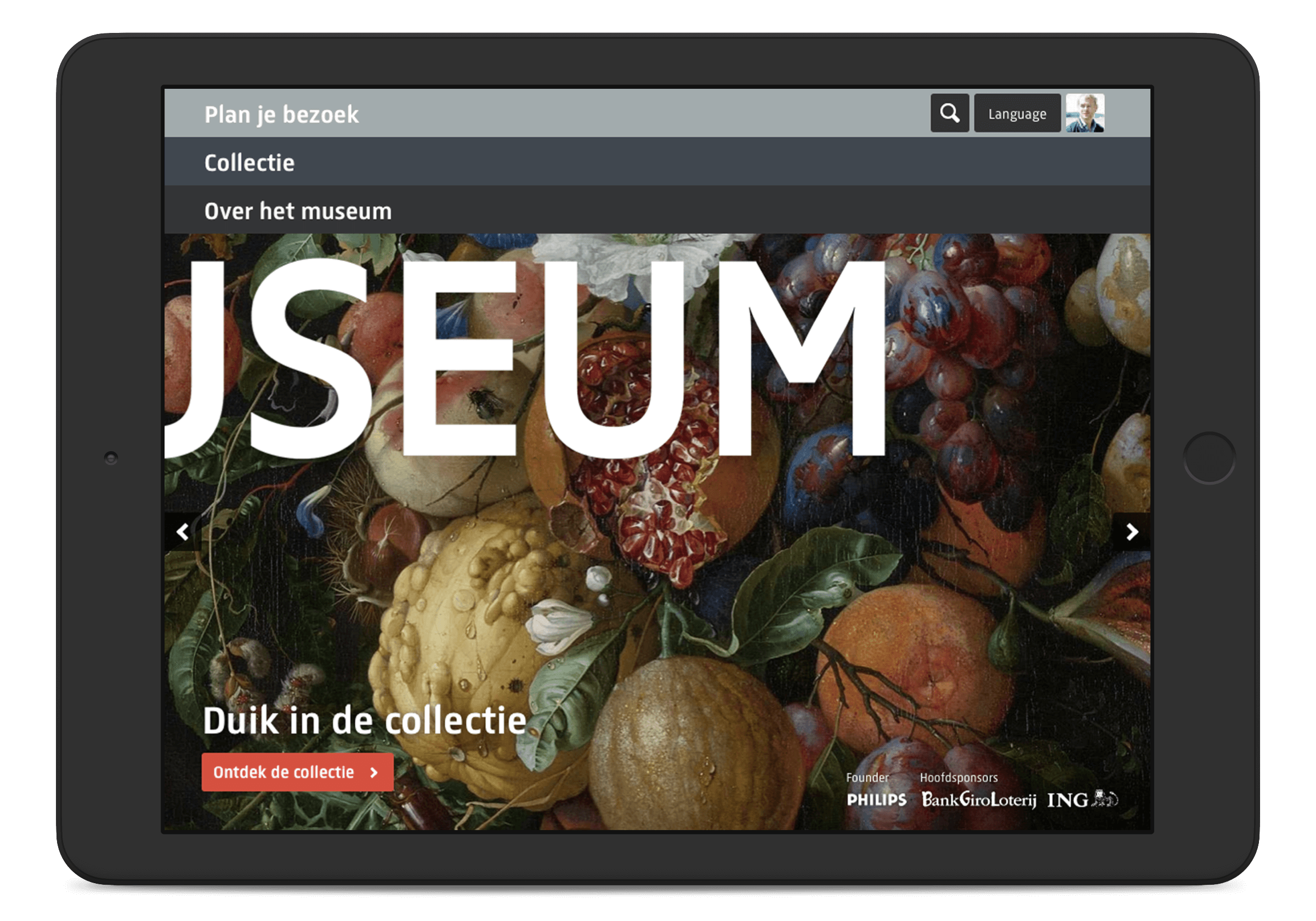 Rijksmuseum website, homepage