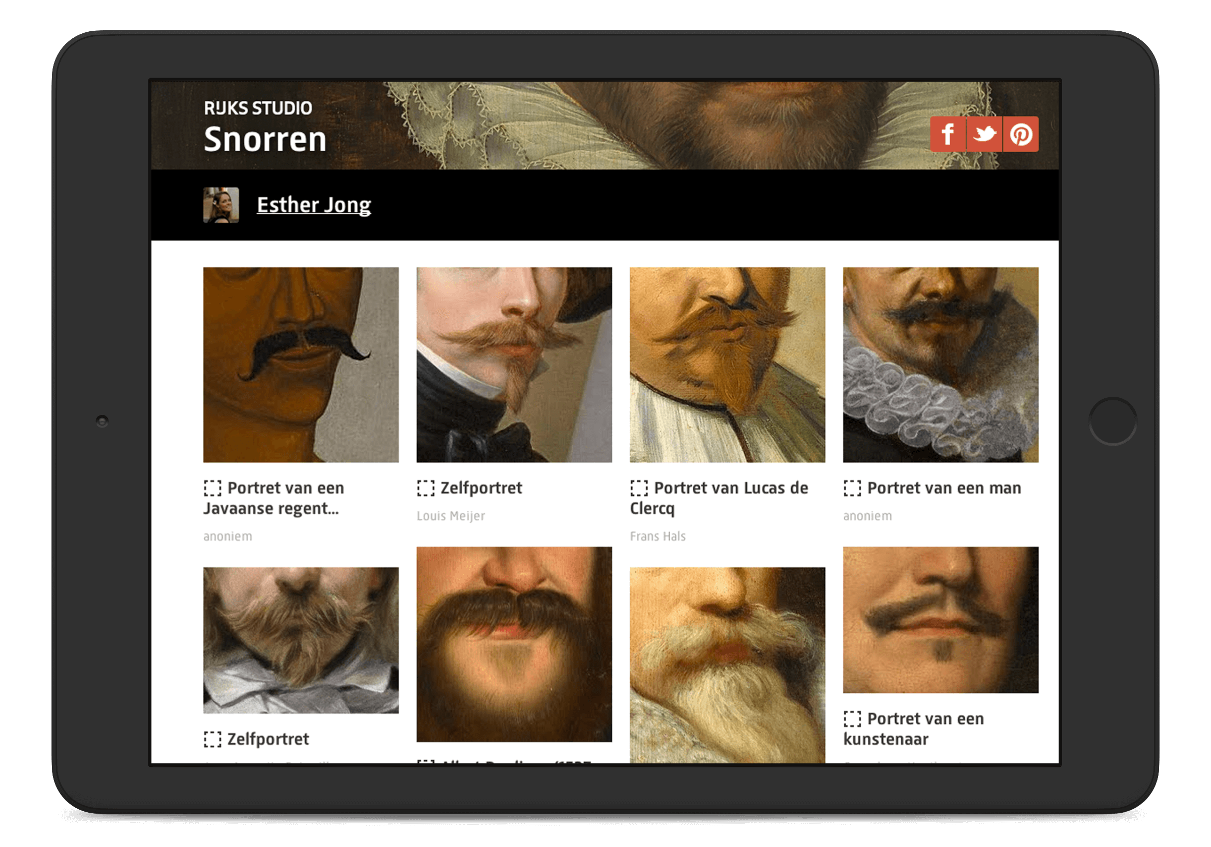 Rijksmuseum website, collection page