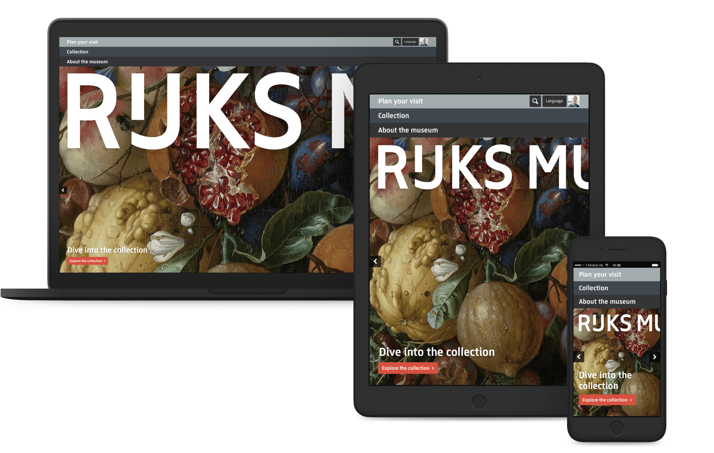 Rijksmuseum website, homepage on desktop, tablet and mobile