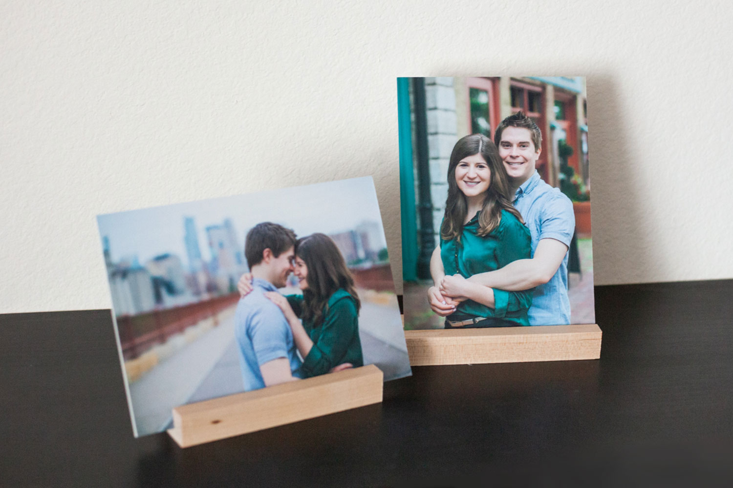 Mounted photographic prints from an engagement session by Laura Leigh Images