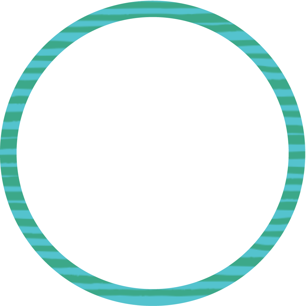 Green and blue striped outline circle