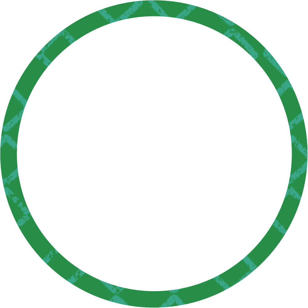 Green and blue cross hatch circle