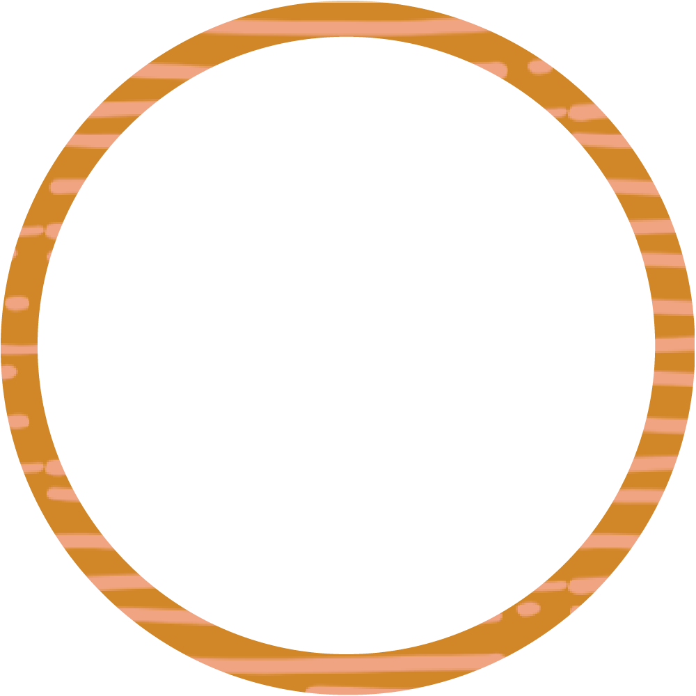 Brown and pale pink stripes circle