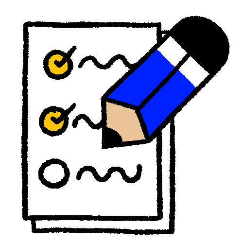 Illustration of a blue pencil writing on a to-do list.