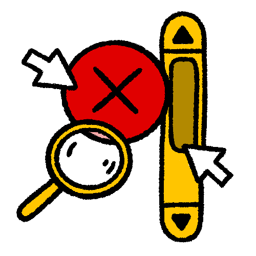 Illustration of different elements of an interface including arrows, a circle with an x, a magnifying glass, and a scrollbar.