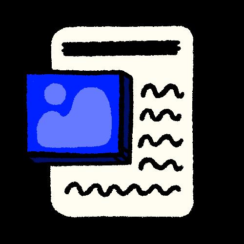 Illustration of a blog wireframe.