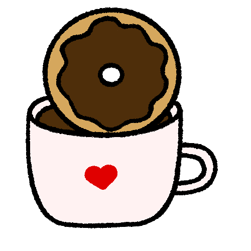 Illustration of a donut dunking into a cup of coffee.