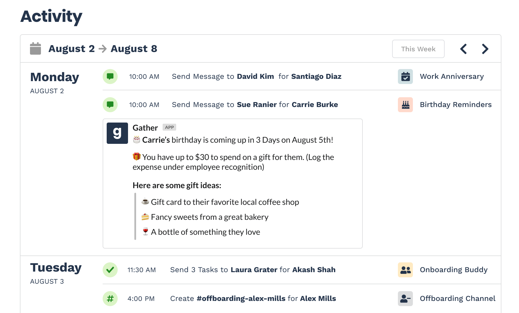Gather activity page
