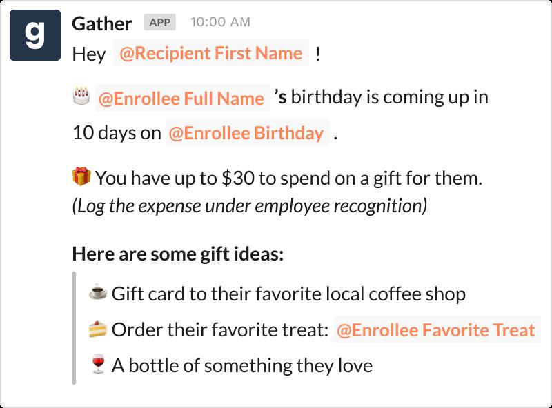 Birthday coordination message in Slack using Gather