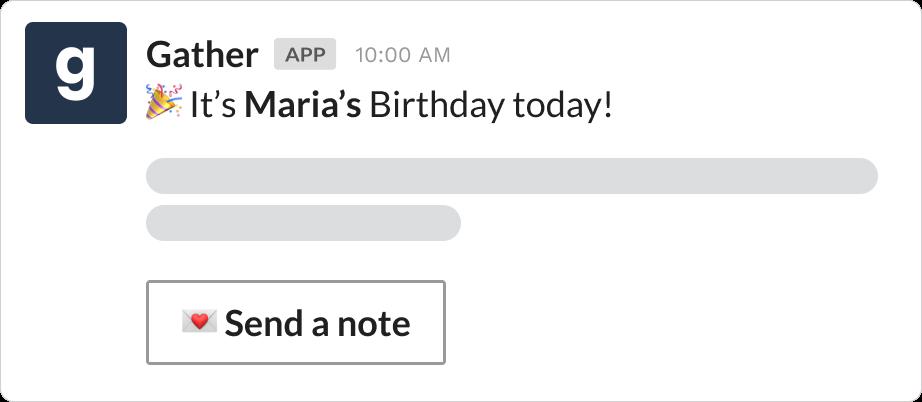 Birthday reminder message over Slack using Gather
