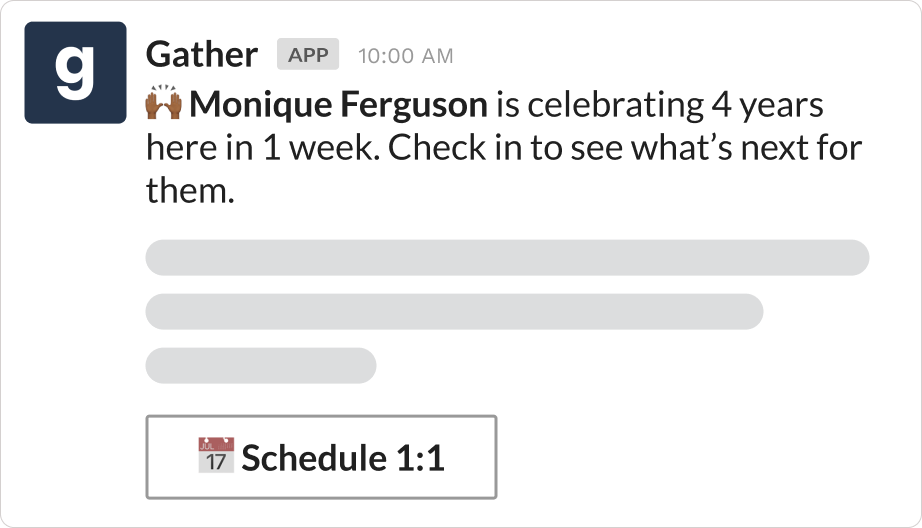 Work anniversary reminder over Slack using Gather