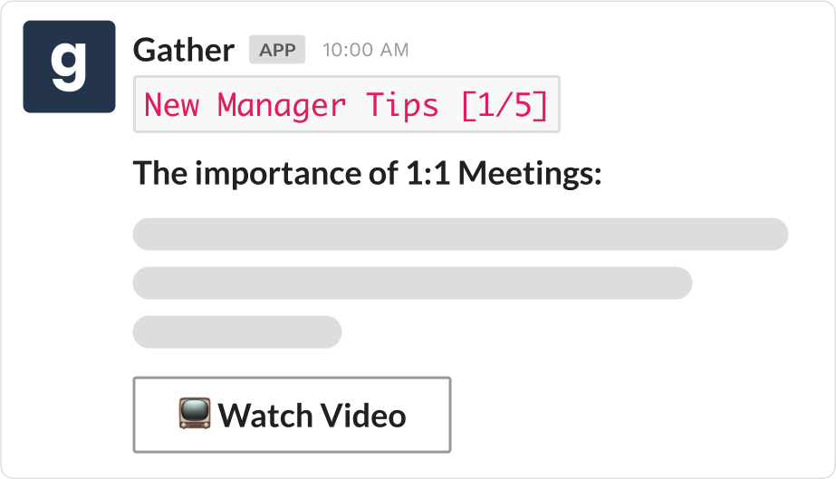 New manager tips in Slack using Gather