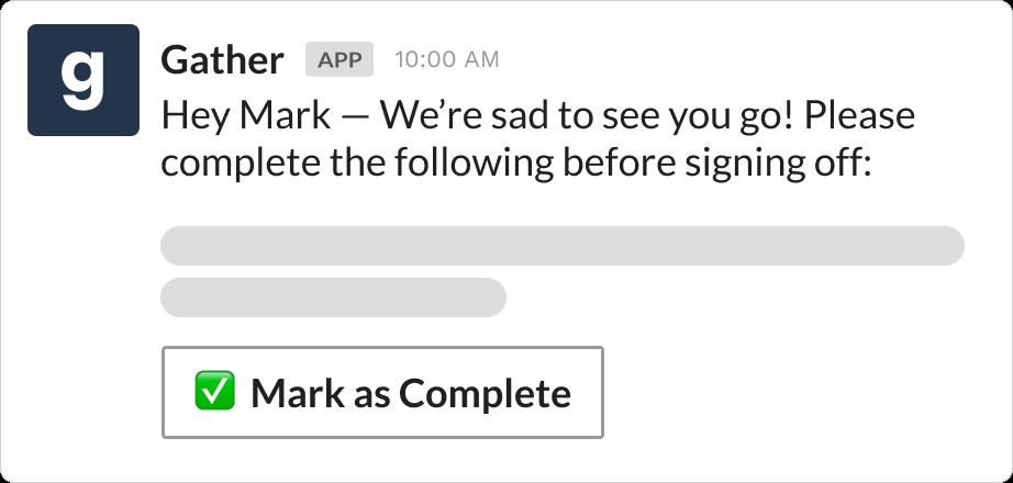 Offboarding message over Slack using Gather