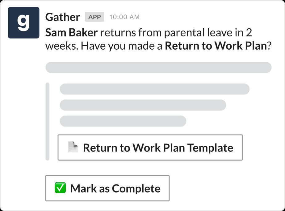 Parental leave reminder over Slack using Gather