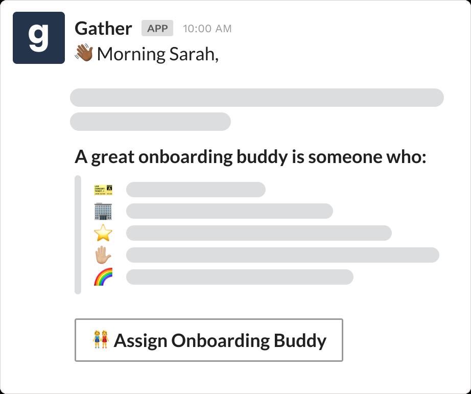 Onboarding buddy program over Slack using Gather