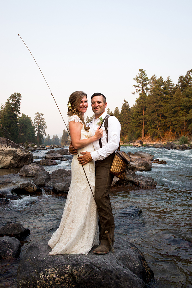 Wedding Couple on Blackfoot River