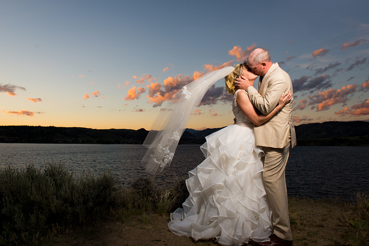 Montana Wedding Couple at Sunset