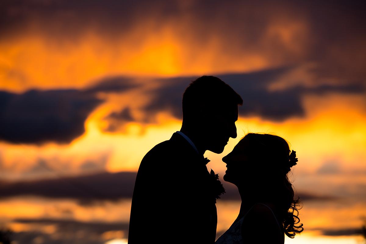 Montana wedding couple at sunset