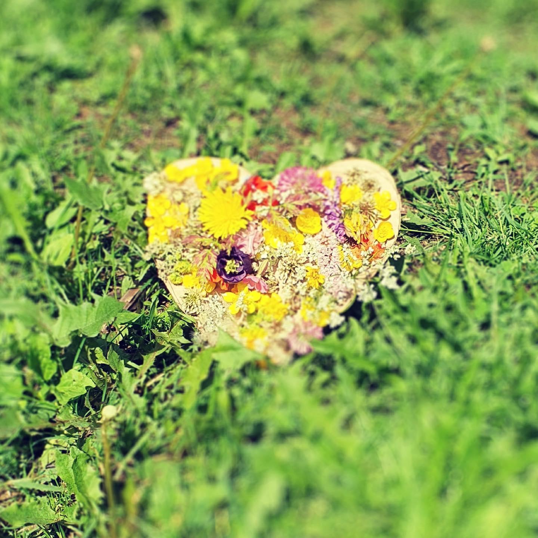 Liten glimt från sommarfritids. Blomhjärta som fritidsbarnen gjort. 🌸🌼💕 Och stanna till och läsa vid minnesstenen för krigsgravarna på Backen.