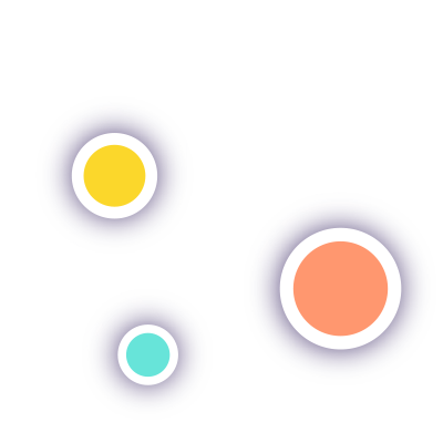 A stylized illustration of mouse cursors with different colored circles representing multiple people collaborating