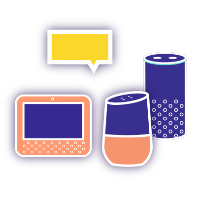 A stylized illustration of a group of smart speaker devices