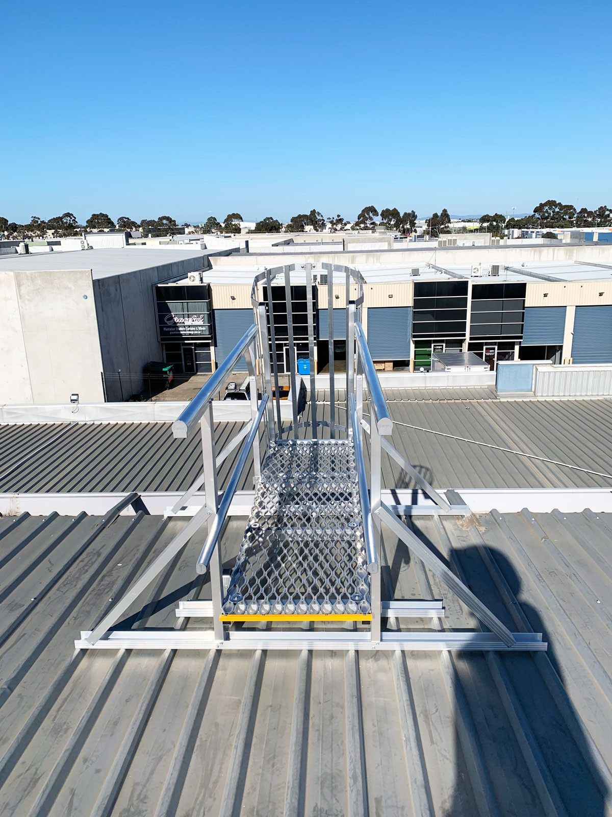 Fixed Roof Access Ladder with Platform
