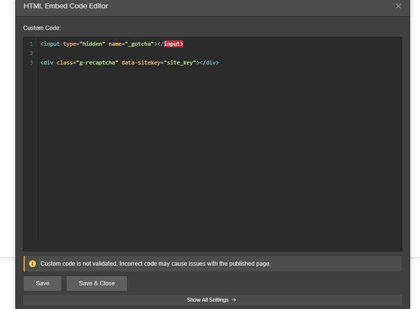 HTML Embed Setup