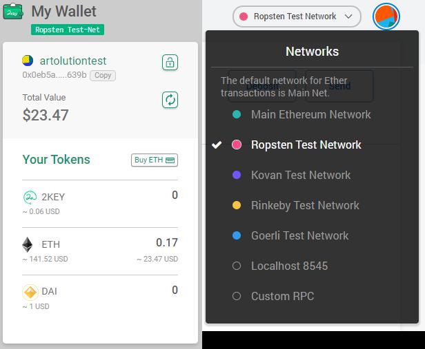 2key wallet on Ropsten Test Network