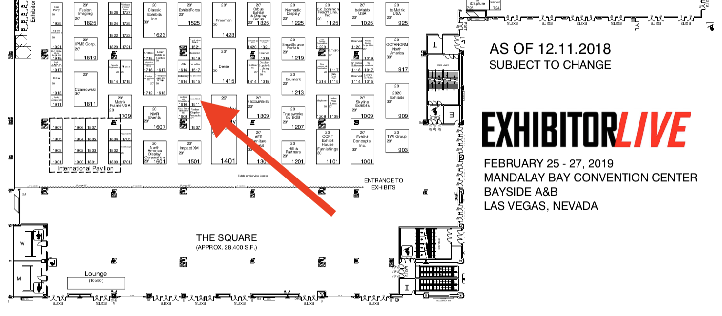 ExhibitorLive floor plan with arrow pointing to EventGeek booth