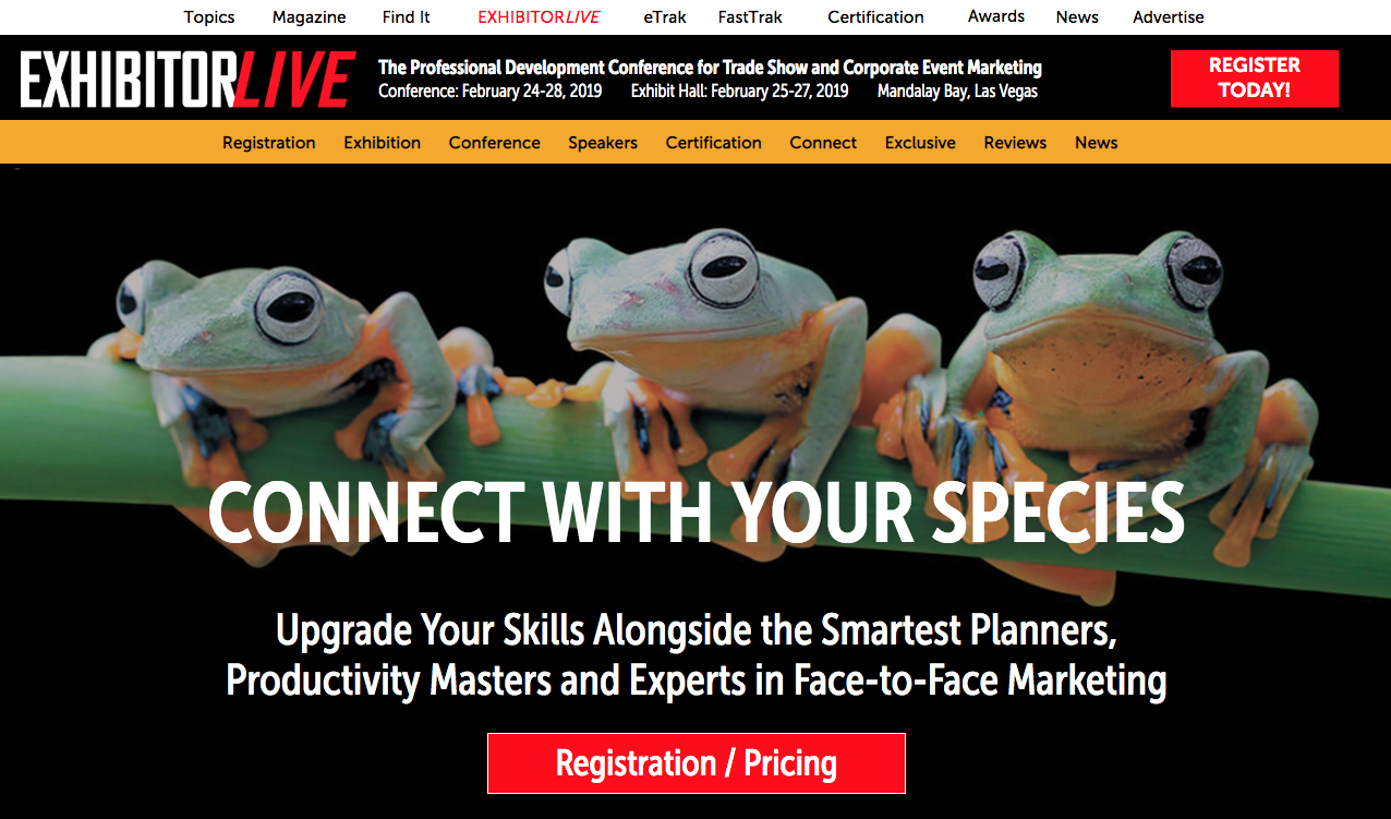 """ExhibitorLive website """"Connect with Your Species"""""""